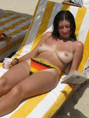 Nude sunbathing mature women