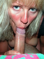 The blonde milf with blue eyes sucks..