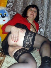 This nude mad granny in black stockings..