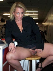 BBW in a black business suit flashe her..