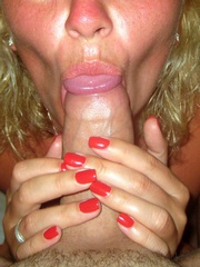 Blonde mom with red nails does blowjob
