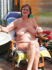 Curvy granny has a huge saggy tits